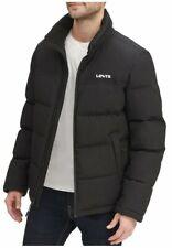 Men's Levi's® Arctic Cloth Stand Collar Logo Puffer Jacket Coat Size L Black