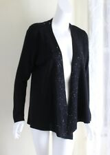 Eileen Fisher PL P L BLACK Beaded Open Front Washable Wool Rich Cardigan Sweater