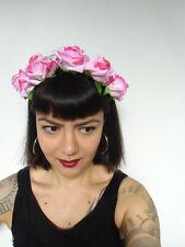 Serre-tête couronne de fleurs roses rose catrina calavera coiffure pinup