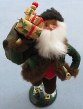 Byers Choice Stepping Out Santa with Pipe and Sack of Toys Green Coat w Fur Mint