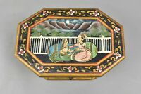 Vintage Trinket Box India Wooden Handpainted Traditional Colorful Man Woman Moon