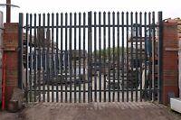 Large Industrial Galvanised Steel Gates 295cm High Heavy Duty Bargain