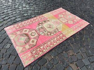 Organic rug, Turkish vintage rug, Handmade wool rug, Bohemian rug   3,3 x 5,8 ft