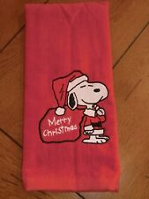 Embroidered Velour Hand Towel - Snoopy - Merry Christmas - Red Towel