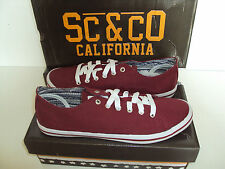 RRP £30 SC &CO New Mens Burgundy Gold Coast Casual Trainers Shoes Size 8