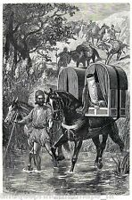 Antique print persian Litter (vehicle) Persia 1886 holzstich Sänfte Persien