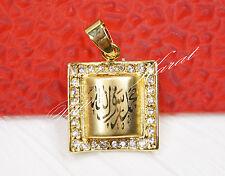 3D Islam Kuran Sure Strass Kettenanhänger Ketten Anhänger 24 Karat vergoldet