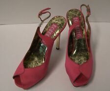 Bordello Peony Peep Toe Slingback Sandals Size 7 Pink Satin Retro Pinup
