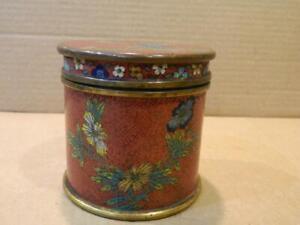 China Cloisonne Enamel Covered Jar Rust Color w/ Multi Color Floral Designs