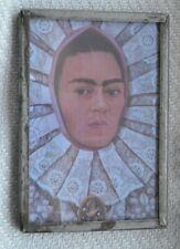 Vintage Frida Kahlo Small Mirror Framed Art Self Portrait Make Up Vanity Metal