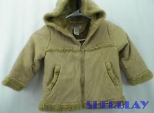 Girl'S 3T Brown Fake Suede Type Winter Jacket Fur Hood & Lining Cherokee