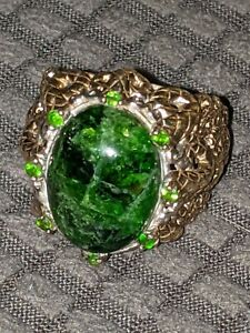 .925 Men's Vermeil Antique Ring. Green crystal and emerald stones. (.925 NH)