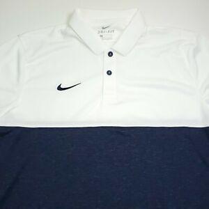 $70 NIKE Dri- Fit Short Sleeve Athletic Polo Shirt Mens Size Medium Blue & White