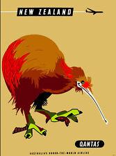 New Zealand South Pacific Kiwi Bird Vintage Travel  Advertisement Art Print