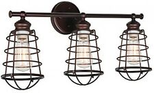 Rustic Vanity Fixture 3 Light Bronze 26 Industrial Bathroom Wall Lighting