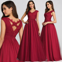 Ever-Pretty Plus Size Bridesmaid Dresses Mesh Long Formal Prom Dress Burgundy