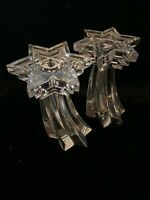 "Vintage 5.75"" Tall Pair WMF Germany Lead Crystal Star Of David Candlesticks"
