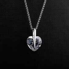Fashion Woman White Gold Filled Heart Clear Crystal Pendant Long Chain Necklace
