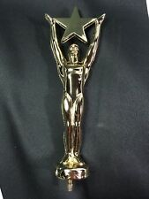 STAR ACHIEVEMENT TROPHY TOPPER HEAVY METAL GOLD FINISH DIE CAST with Wood Base