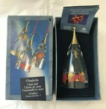 """Rosenthal """"Classic Rose"""" Art Deco Glass Christmas Bell Ornament ~ New in Box"""