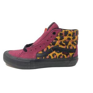 Vans Sk8 Hi Pro Punk Beet Red Leopard Men's 12 Skate Shoes New