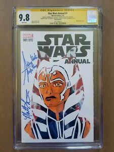 Star Wars Annual #1 CGC 9.8 Ahsoka Sketch Art Signed Ashley Eckstein Matt Lanter