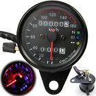 Universal Motorcycle Black Dual Odometer Backlight Signal LED Gauge Speedometer