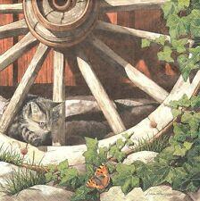 2 Serviettes papier Chat dans la roue Paper Napkins Cat on an old wheel