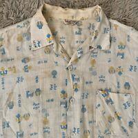 Sport Shirt Vintage 50s Large Southwestern Short Sleeve Loop Shirt Sanforized