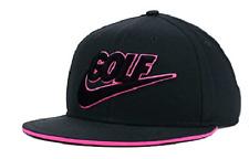 Nike True Golf Novelty Flatbill Charcoal & Pink Snapback Cap Hat $35