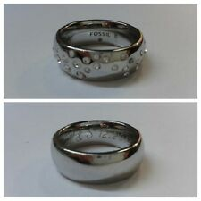Beautiful steel ring size 57 fossil white stones jewelry brand