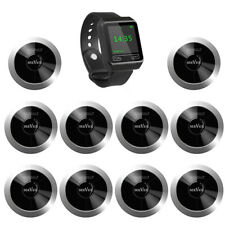 SINGCALL Wireless Restaurant Calling Waiter System 1 Watch, 10 Pagers for Hotel