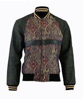Men's Bomber Paisley Jacket Fashion Denim Jeans Sleeves Coat Women Classic Fit