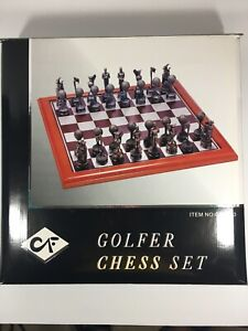 Golfer Chess Set Wooden Board Beautiful Pewter Color Game Pieces NEW in Box