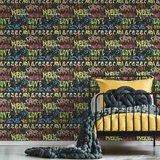 Fresco Urban Graffiti Black Wallpaper