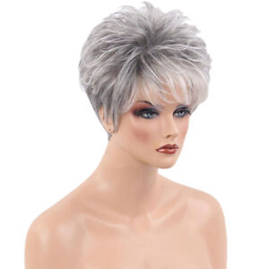 Gray Fashion Short Bangs Straight Hairstyle Real Human Hair Wigs For Women
