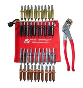 AIRCRAFT / AVIATION TOOLS 40 PC CLECO KIT SHEETMETAL WITH PLIERS IN AES POUCH