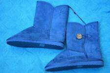 Rivers Ladies Long UGG BOOTS Size 8-39 Denim Blue. Stylish Button Trim