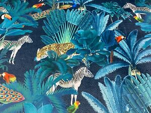 Kanha Tropical Safari Teal / Blue  Soft Velvet   Curtain/Upholstery Fabric