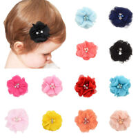 10Pcs Lot Pearls Chiffon Head Flower DIY Hair Accessories No Hair Clips Headwear
