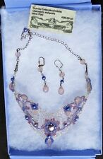 $120 Chalcedony & Pearls Silver Plate Choker Necklace + Drop Earrings Boxed Set