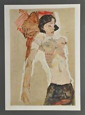 Egon Schiele Lichtdruck Collotype 36x50cm Signed Liegendes Mädchen Girl 1911 Akt