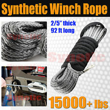 """92ft x 2/5"""" Synthetic Winch Rope Line Cable 19600 lbs Sheath Heavy Duty Offroad"""