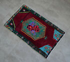 """Vintage Distressed Small Area Rug Hand Knotted Oushak Rugs Yastik -1'8""""x2'11"""""""