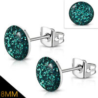 8mm Stainless Steel Blue Zircon Druzy Crystal Round Circle Stud Earrings pair