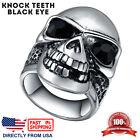Mens Stainless Steel Gothic Halloween Biker Skull Ring (Size 7 - 15, US Seller)