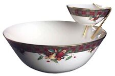 Holiday Tartan Tier Bowl Set-2 Bowls and Metal Holder by Lenox NEW IN THE BOX