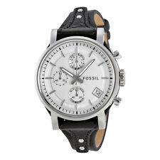 Fossil Original Boyfriend White Dial Chronograph Leather Ladies Watch ES3817