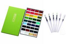 Kuretake Gansai Tambi Solid Water Colors 36 Set and 6 Water Color Brush Pen Set