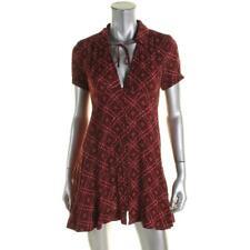 Free People 8398 Womens Red Printed Mini Short Sleeves Mini Dress 2 BHFO